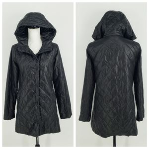 Eileen Fisher Hooded Light Quilted Puffer Jacket
